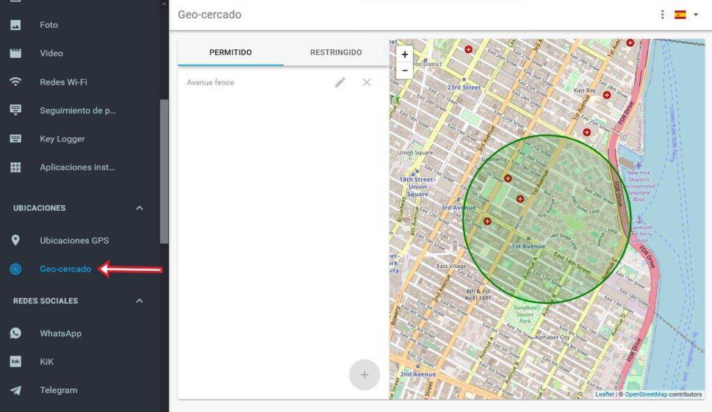 Crea barreras virtuales para ser alertado cuando el celular rastreado entra o sale de algun lugar especifico.